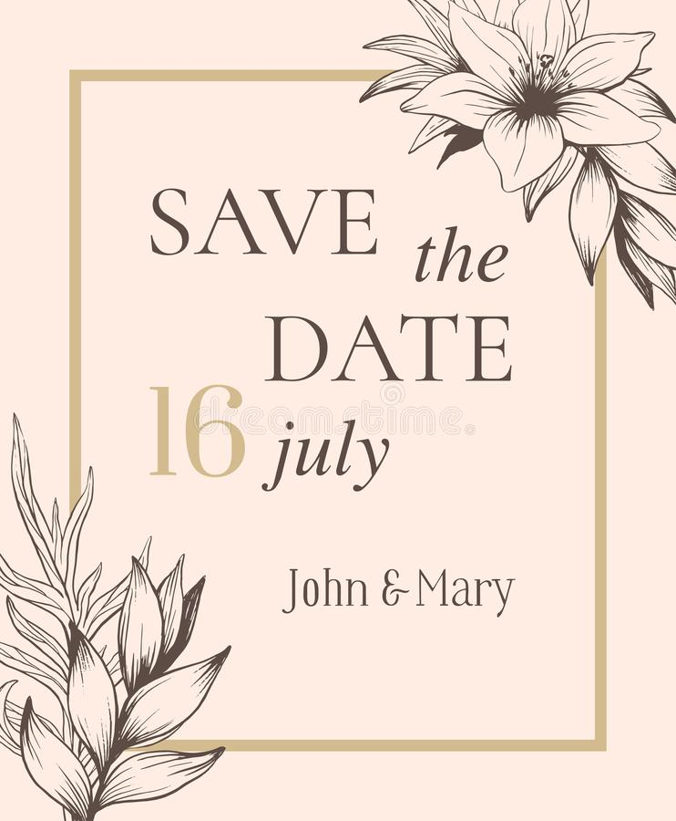 Save the date template design pastel colors with hand drawn flow royalty free illustration