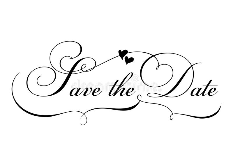 Save the Date. Vector Handmade Calligraphy with Twirl and Two Hearts. vector illustration