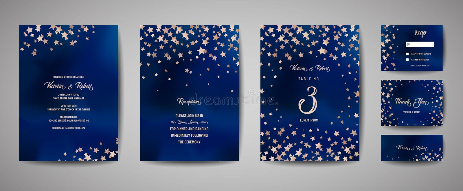 Save the date vector illustration with night starry sky, wedding party star celestial royalty free illustration