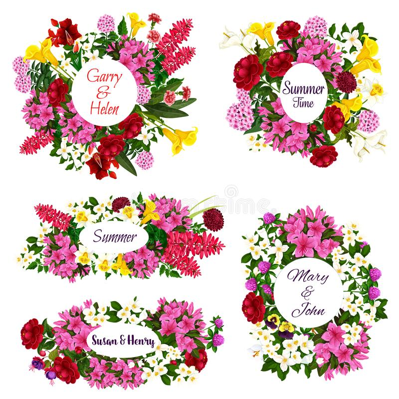 Vector flowers for Save the Date cards royalty free illustration