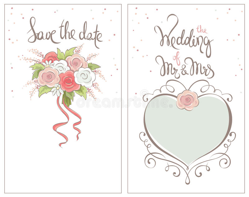 Save the date, wedding invitation card. Classic vector ornaments for invitation with bride`s bouquet stock illustration