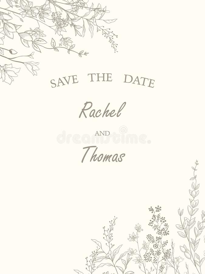 Save the date wedding invitation card template decorate with hand drawn wreath flower in vintage style. Vector illustration. vector illustration
