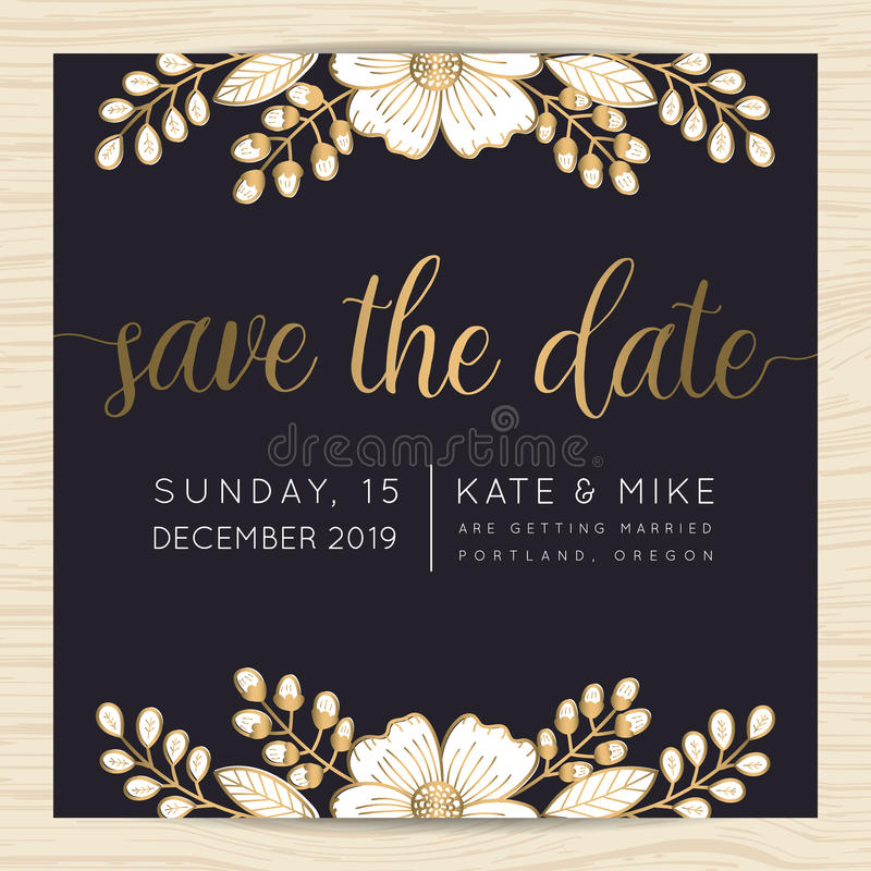 Save The Date, Wedding Invitation Card Template With Golden Flower Floral Background. Stock