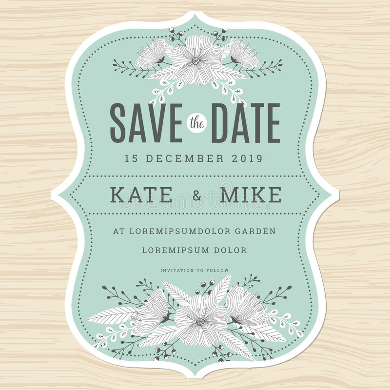 Download Save The Date, Wedding Invitation Card Template With Hand Drawn  Flower Floral Background In