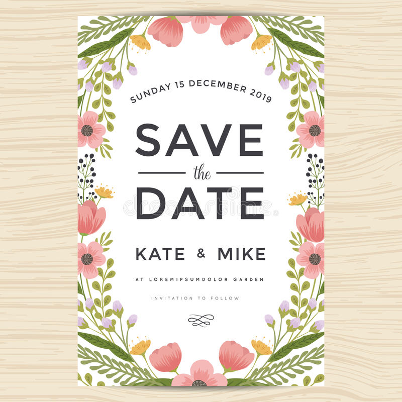 Save the date wedding invitation card template with hand drawn download save the date wedding invitation card template with hand drawn wreath flower vintage style stopboris Choice Image