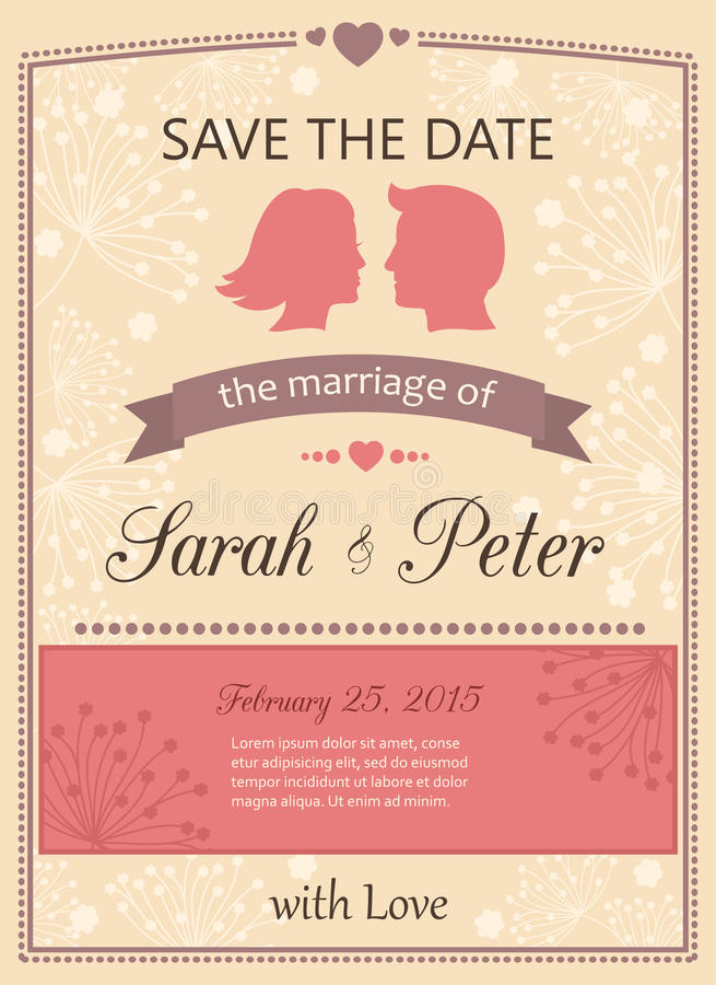 Save The Date Wedding Invitation Card Stock Vector - Illustration of ...