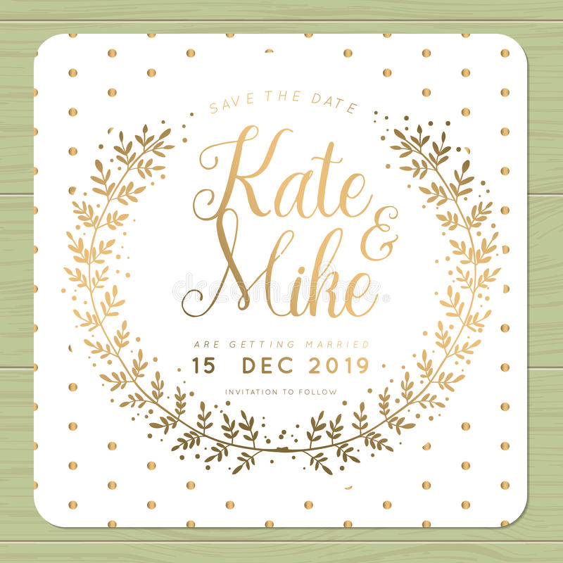 Golden Save The Date For Wedding Invitation Wedding: Save The Date, Wedding Invitation Card With Wreath Flower