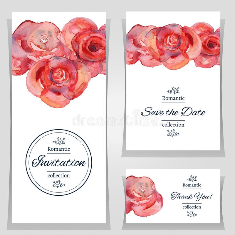 Save The Date Or Wedding Invitation Template With Roses. Stock ...