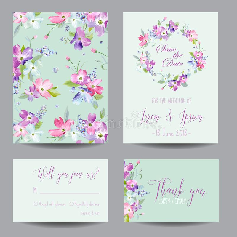 Save the Date Wedding Invitation Template with Spring Dogwood Flowers. Romantic Floral Greeting Card Set for Celebration. Watercolor Botanical Design. Vector royalty free illustration