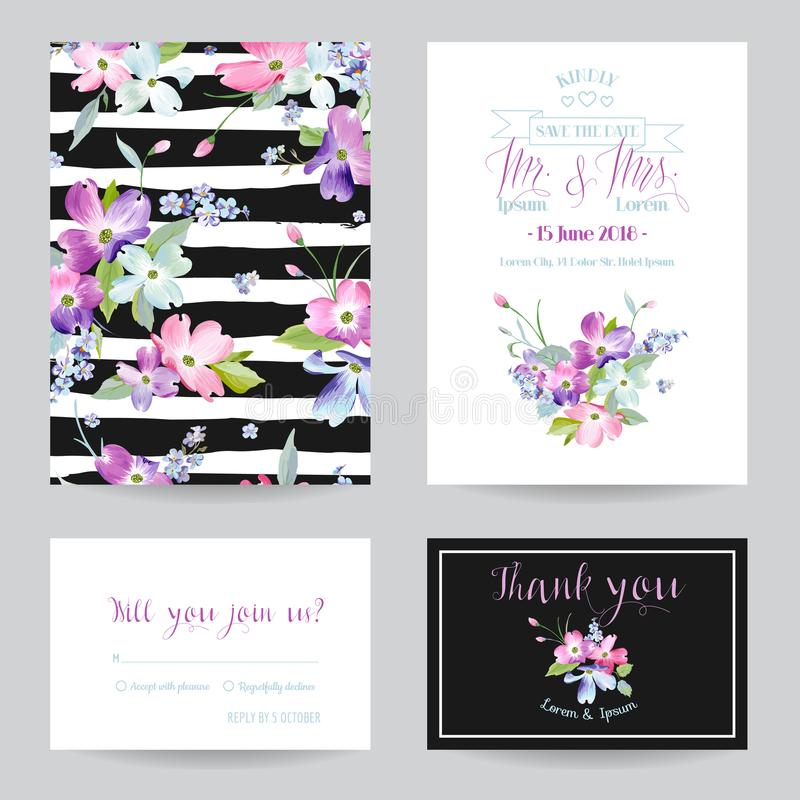 Save the Date Wedding Invitation Template with Spring Dogwood Flowers. Romantic Floral Greeting Card Set for Celebration. Watercolor Botanical Design. Vector vector illustration
