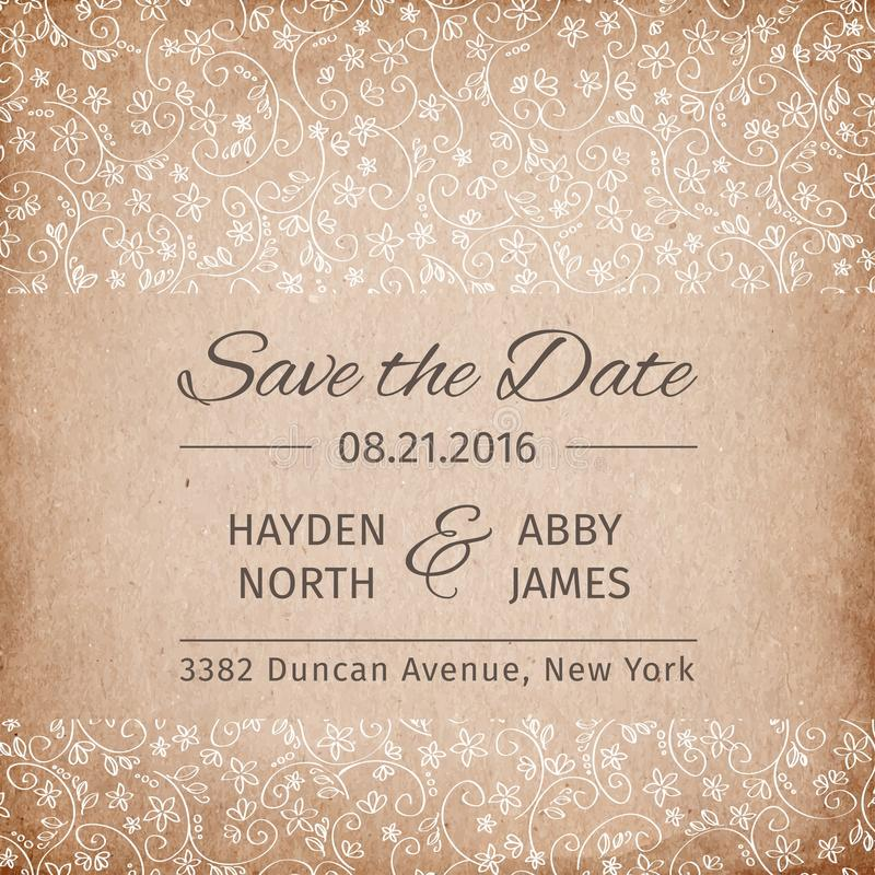 Save The Date Wedding Invitation Template. Vintage Paper Texture ...
