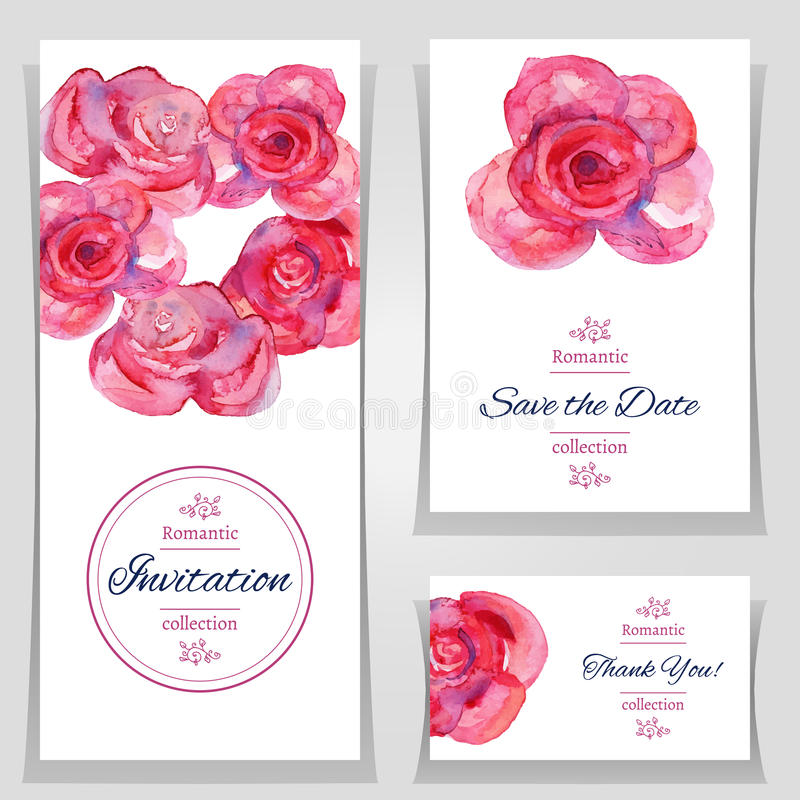 Save The Date Or Wedding Invitation Templates With Red Roses. Stock ...