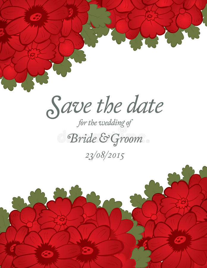 Save The Date Wedding Invite Card Template With Red Flowers – Invite Card