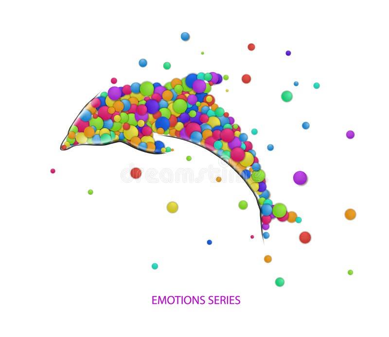 Save delfinu pojęcie, delfin tworzący od małych barwionych części, delfin emocj ikon stubarwny odosobniony, ilustracji