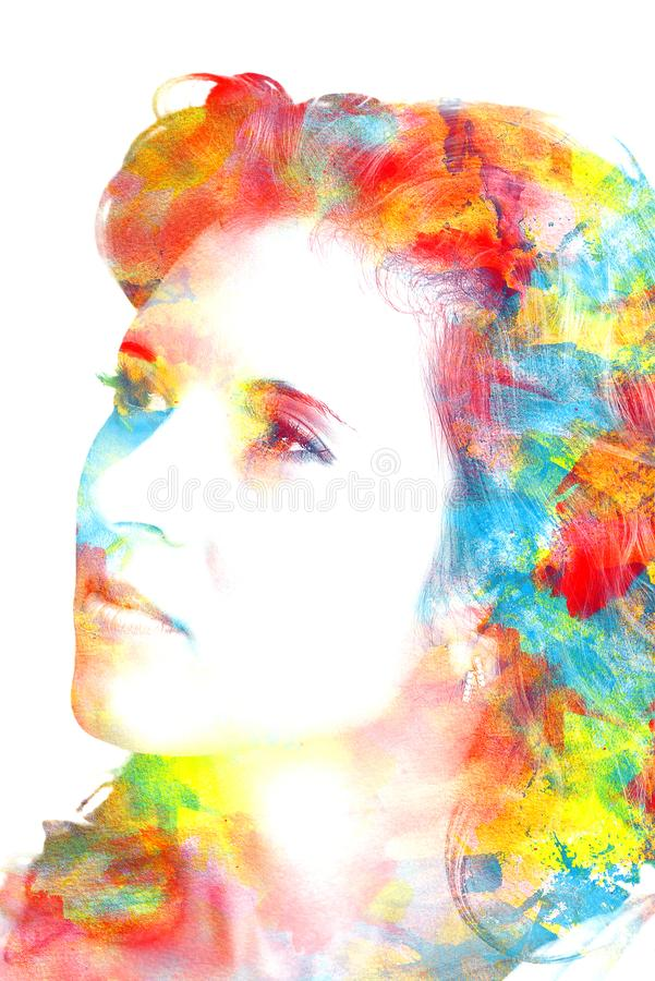 Save Download Preview Double exposure of a young beautiful girl. Painted portrait of a female face. Picture in the coloring. stock images
