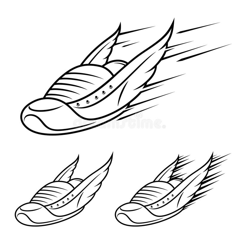 Save Download Preview Running winged shoe icons, sports shoe with motion trails royalty free illustration