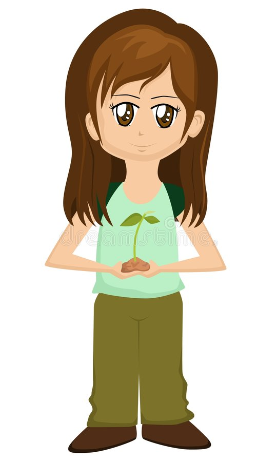Save the Earth Cartoon Girl stock illustration