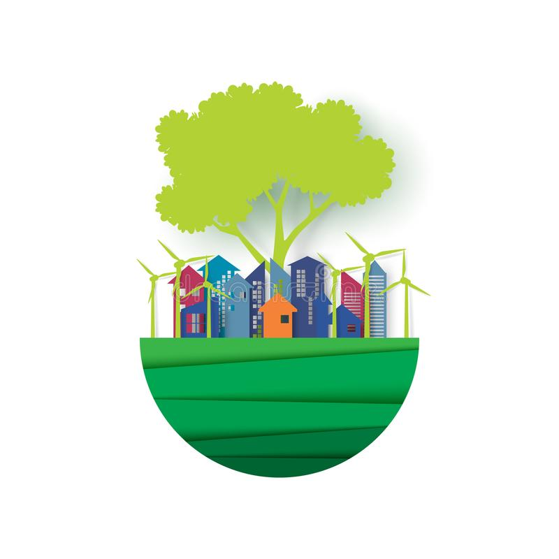 Save the earth with eco city concept. Save the green earth.Eco friendy cityscape and urban forest landscape background.Ecology and environment sustainable vector illustration