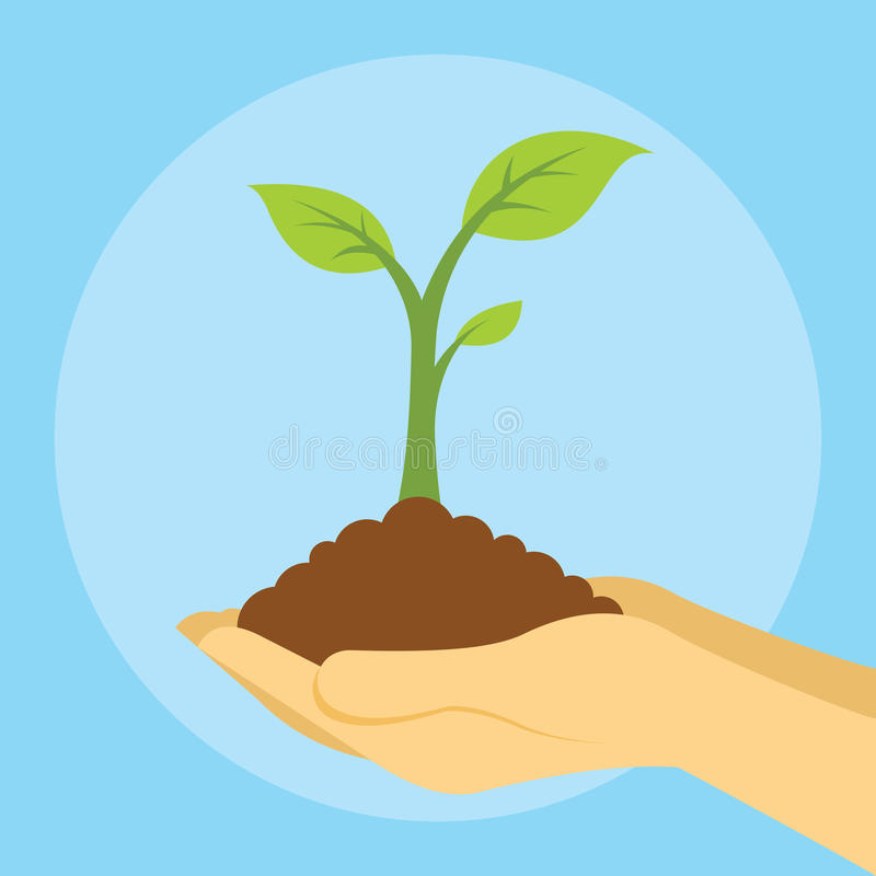 Save earth plant trees with hands hold plant royalty free illustration