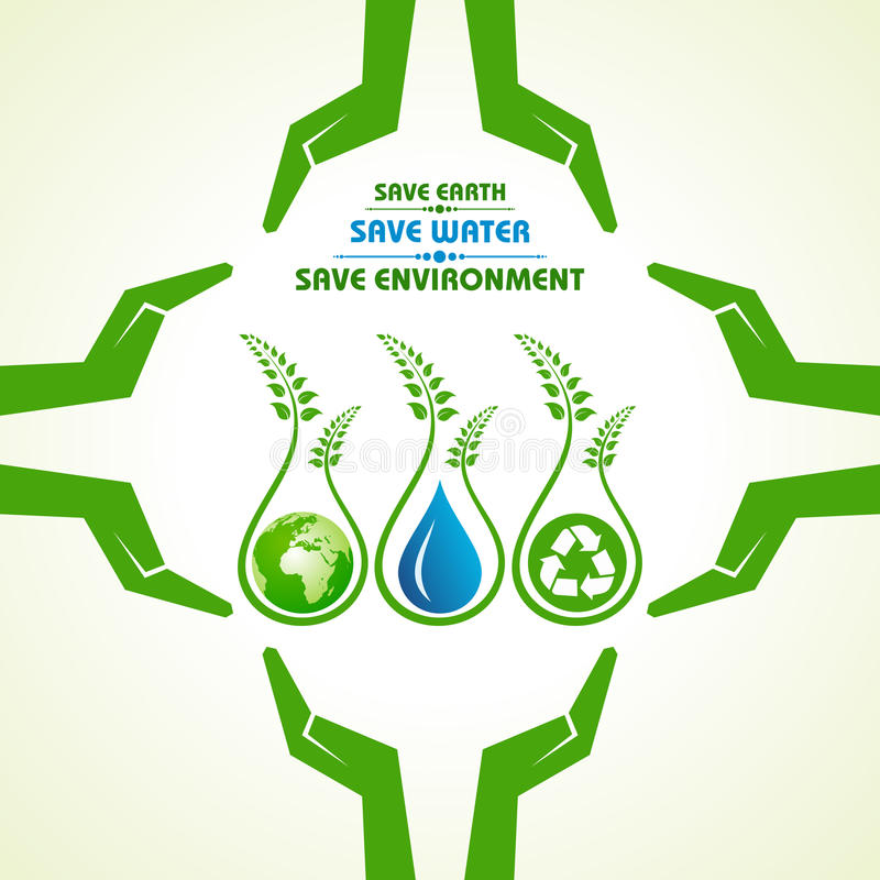 Save earth,water and environment concept stock illustration