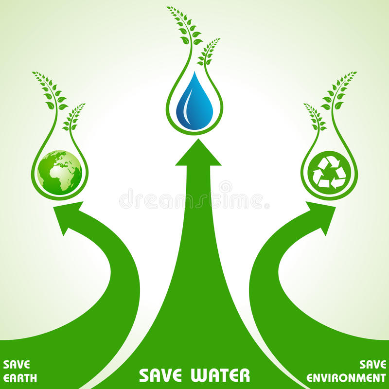 Save earth,water and environment concept vector illustration