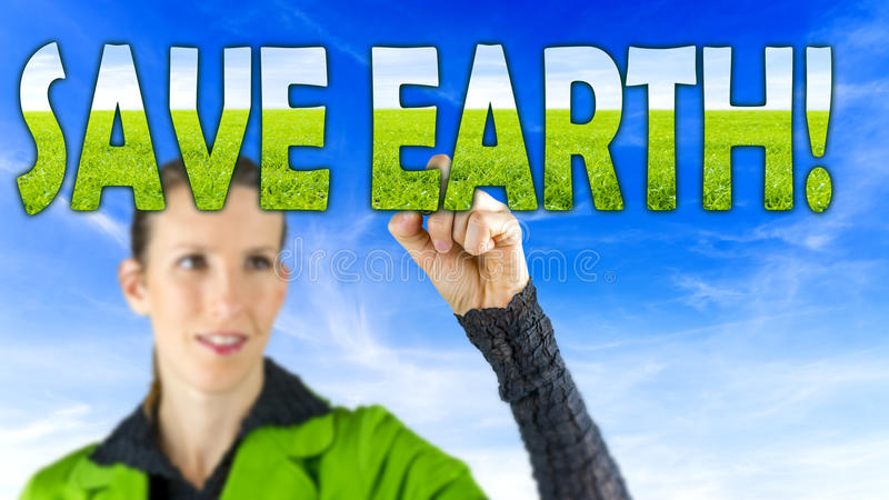 Save earth. Young female environmentalist writing Save earth sign on virtual board stock photos