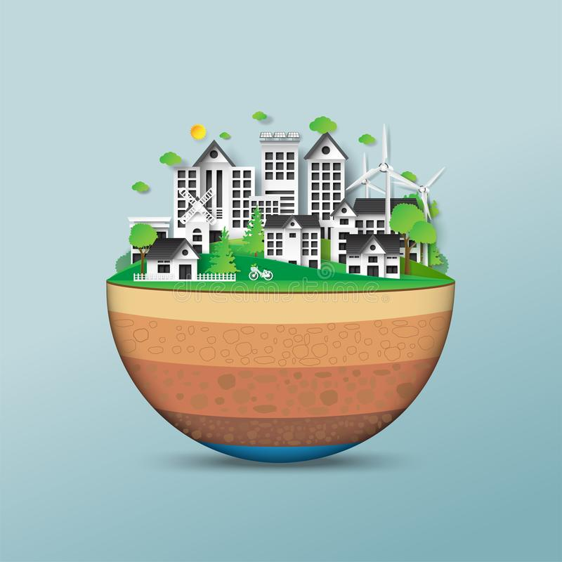 Save the eco earth. royalty free illustration