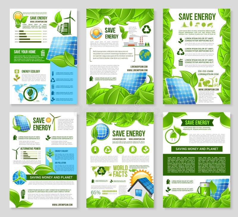 Save energetycznego plakatowego szablon dla ekologia projekta royalty ilustracja