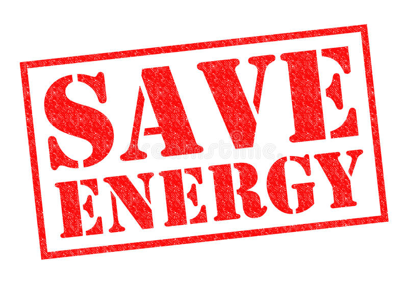 SAVE ENERGY. Red Rubber Stamp over a white background stock photo