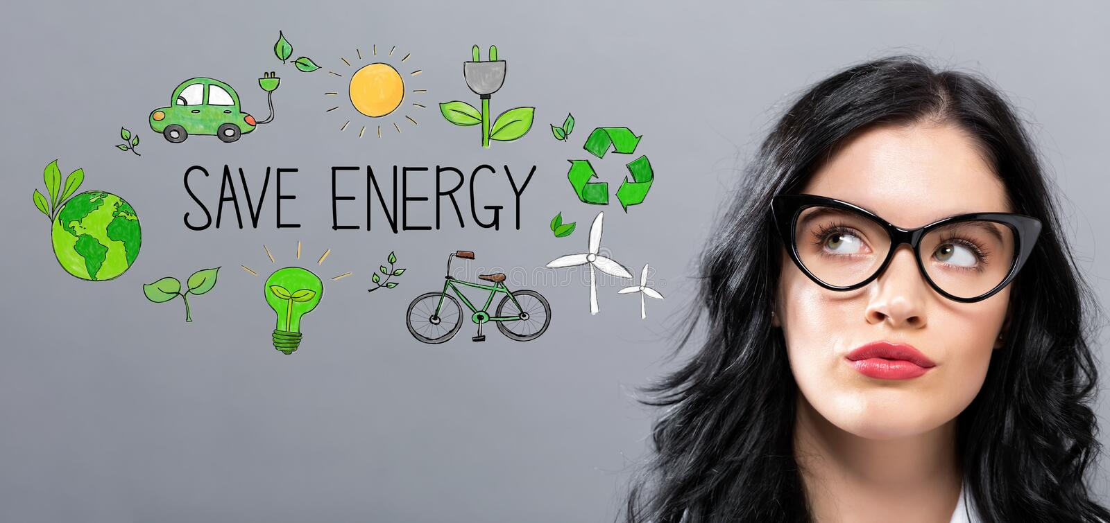 Save Energy with young businesswoman royalty free stock photography