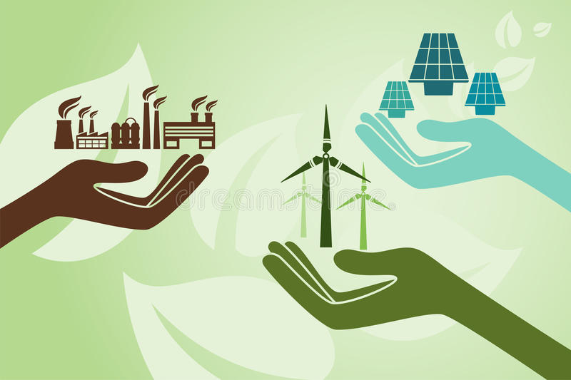 Save environment and green power concept. royalty free illustration