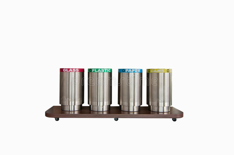 Save The Esarth,four trash cans,seperate each type of trash(with clipping path). Four trash cans,separate each type of trash(with clipping path royalty free stock photography