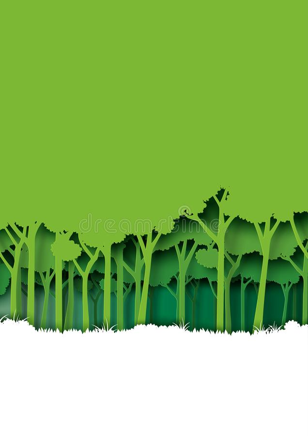 Save eth earth and nature landscape concept paper art style design. royalty free illustration