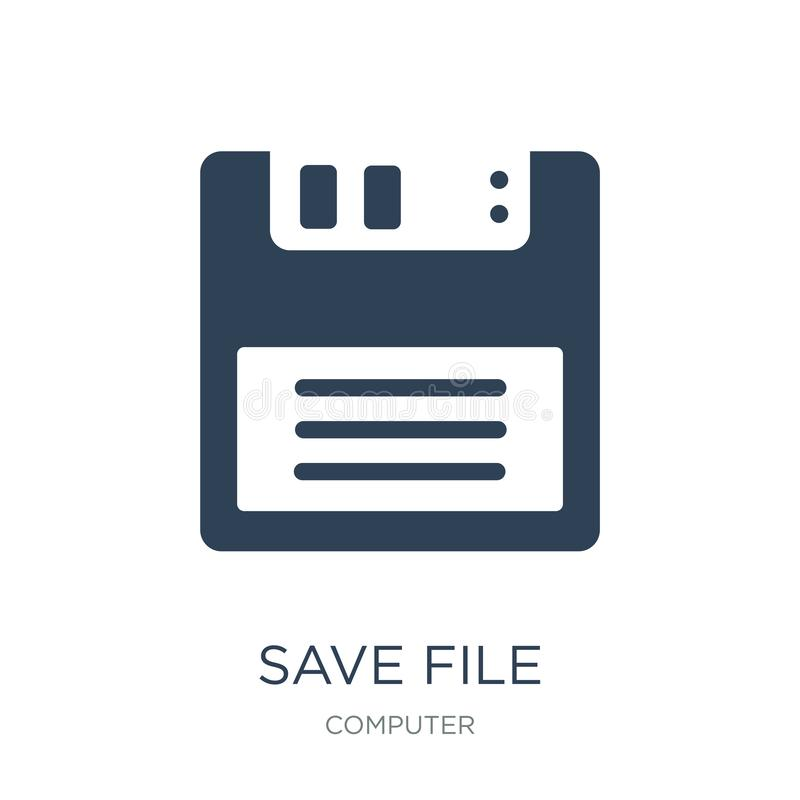 Save file icon in trendy design style. save file icon isolated on white background. save file vector icon simple and modern flat. Symbol for web site, mobile stock illustration