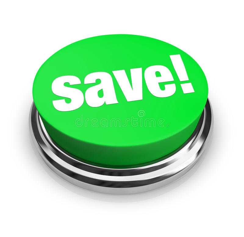 Save - Green Button. A green button with the word Save! on it