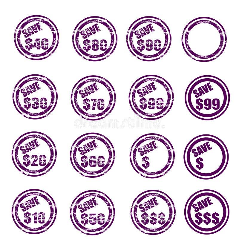 Save $ Grunge Stamp Set Royalty Free Stock Images