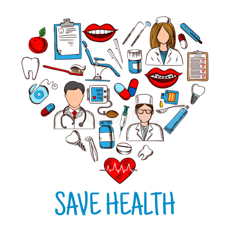 Save Health symbol with heart of medical sketches. Colored sketches of dentist, nurse and physician with stethoscope and thermometer, medicines and syringes stock illustration