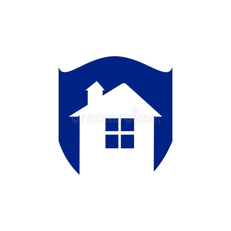 Save home logo house with window and chimney on the roof and shield symbol. Defense, security and real estate vector icon vector illustration