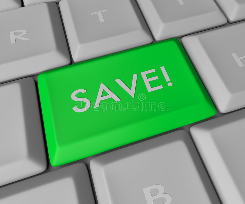 Save Key on Computer Keyboard. A blue button reading SAVE on a computer keyboard royalty free illustration