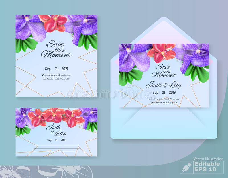 Save this Moment Wedding Set with Floral Design. Save this Moment Wedding Set. Floral Design. Greeting and Invitation Traditional Cards and Envelop. Female stock illustration