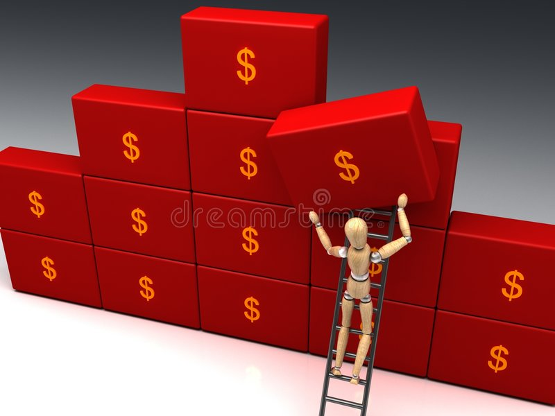 Save money. A easy way to save money is a good personal goals for next year. Another brick in the wall royalty free stock image