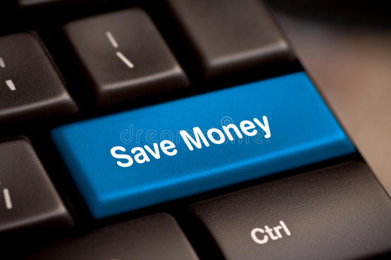 Save Money button key. Save money for investment concept with a blue button on computer keyboard royalty free stock photo