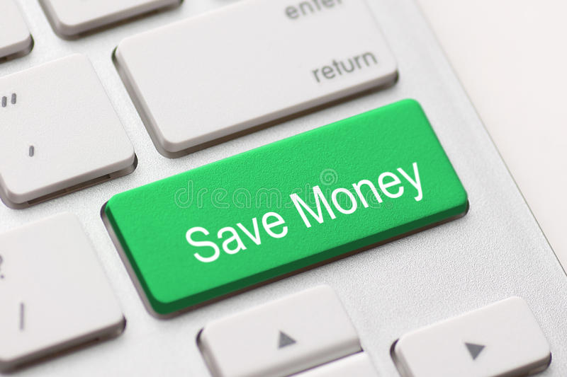 Save Money button key. Save money for investment concept with a green button on computer keyboard stock photo