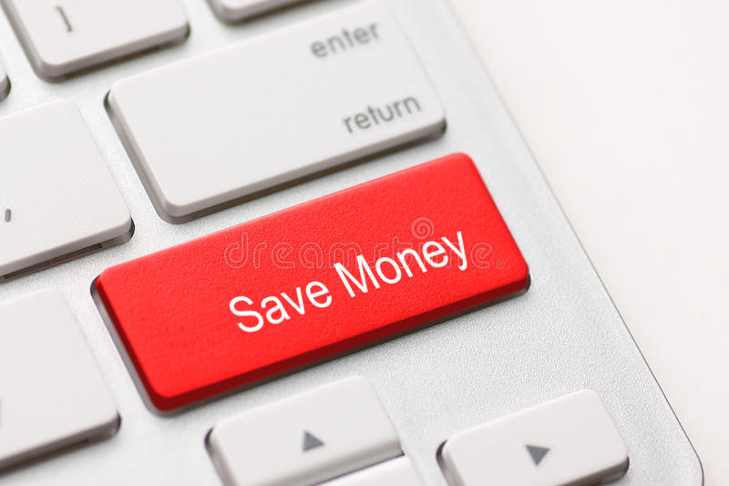 Save Money button key. Save money for investment concept with a red button on computer keyboard stock images