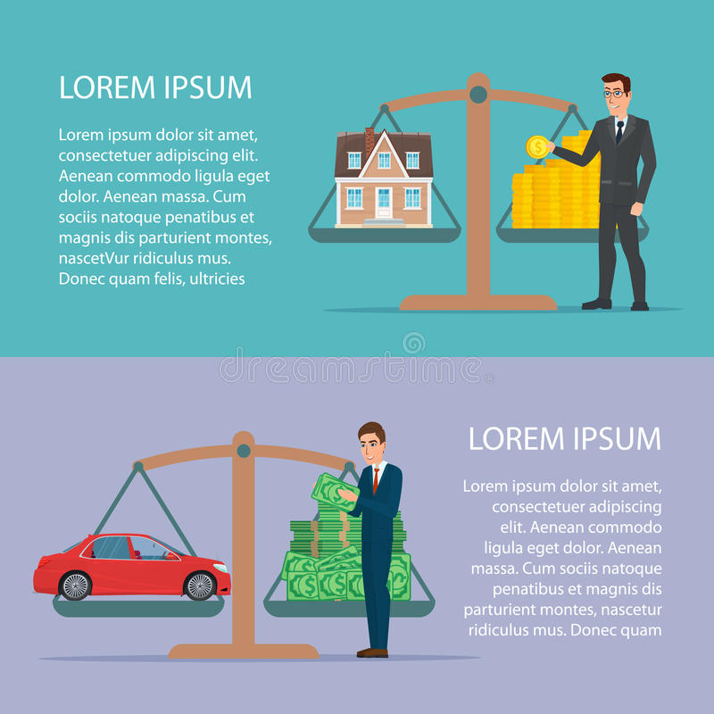 Save money for car and home asset property by businessman Flat. Design for business financial marketing concept cartoon illustration. Template for your text vector illustration