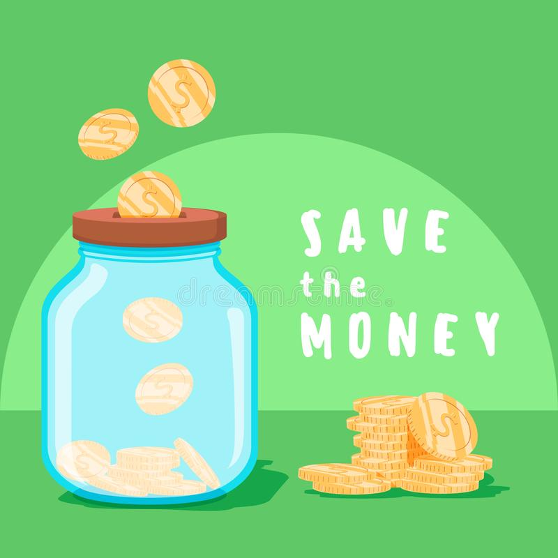 Save money concept. Saving dollar coin in jar. concept vector illustration Flat design style vector illustration. vector illustration