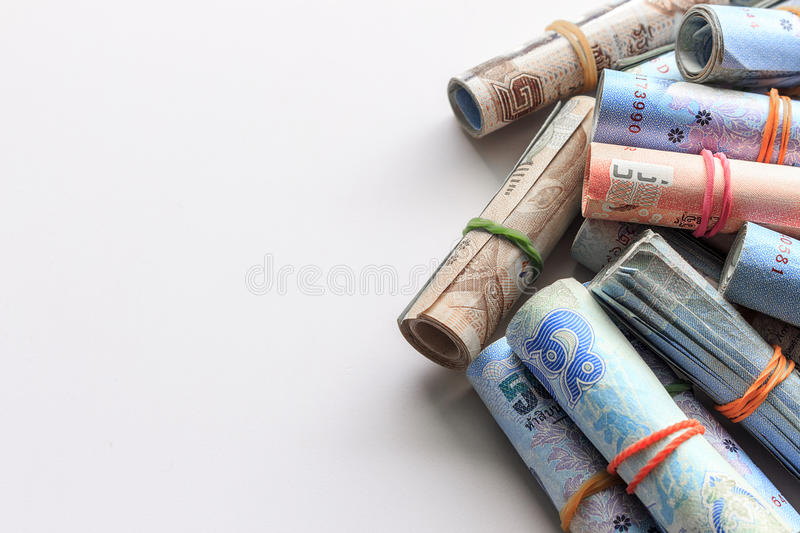 Save money concept. Thai money on white background. soft-focus and over light royalty free stock photography