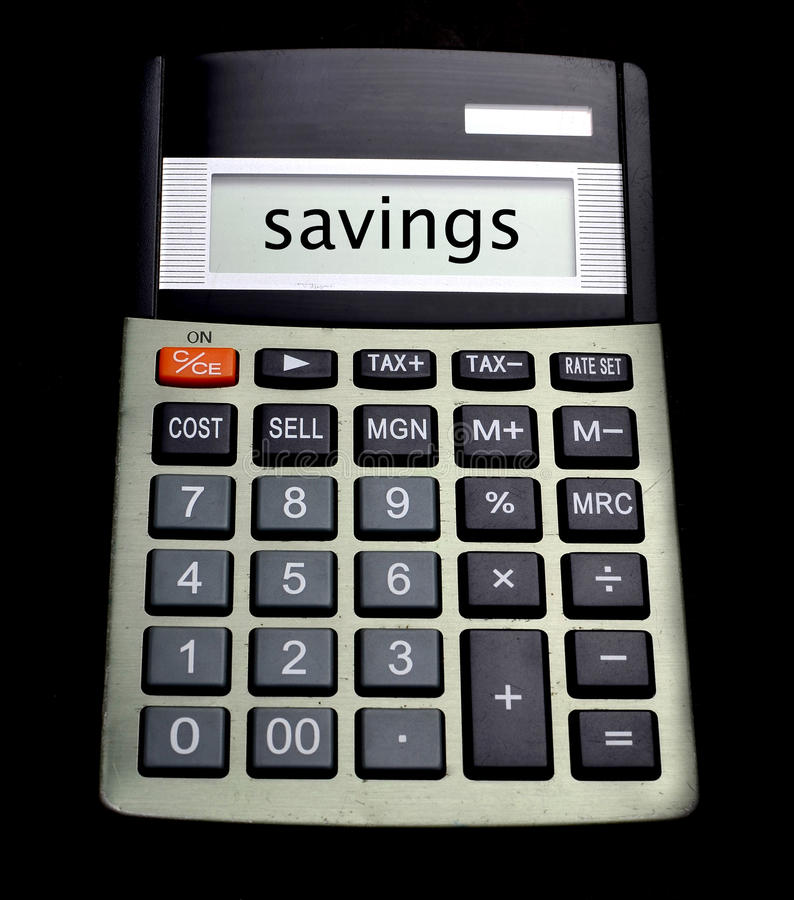 Save money concpet with word savings on calculator. Budget buy calculator cash deal discount earn economy stock images