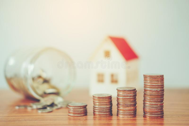 Save money for home cost.  stock image
