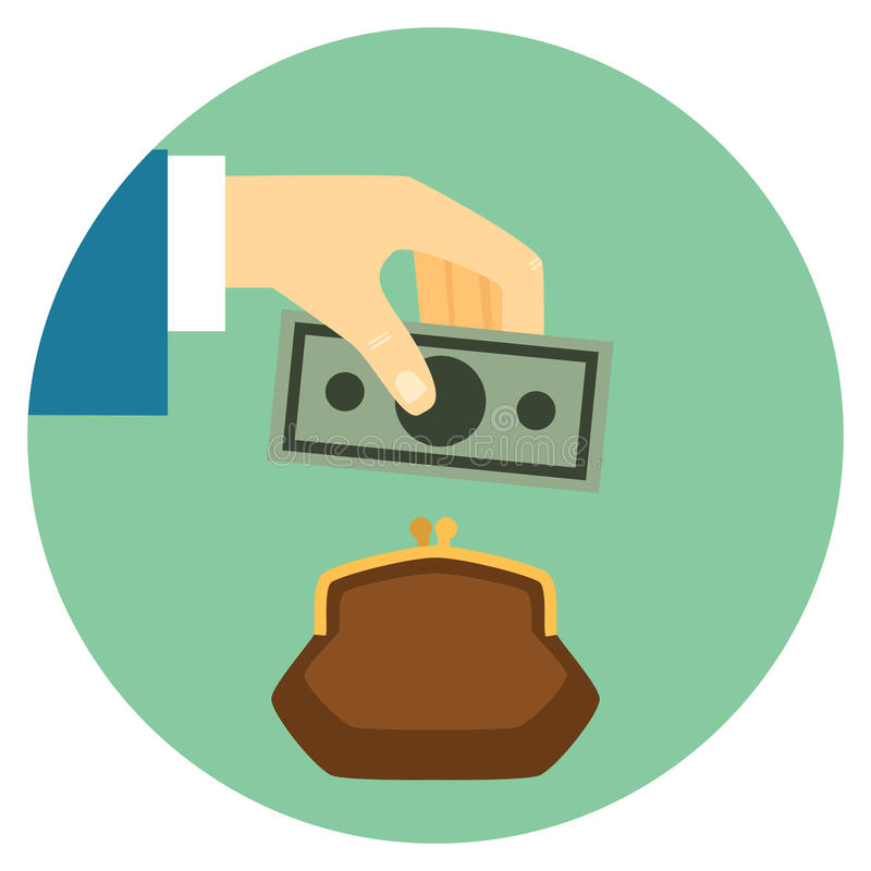 Save Money Icon. Save Money Flat Style Icon. Hand puts bill in wallet. Vector eps10 illustration stock illustration